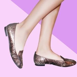 Bronze Snake Print Leather Pointy Toe Loafer